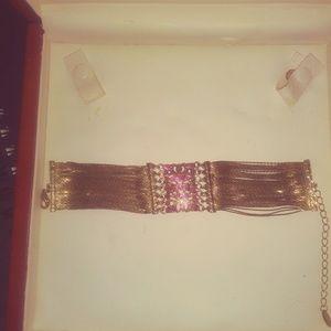 Jewelry - Gold tone Rhinestones Wide Bracelet